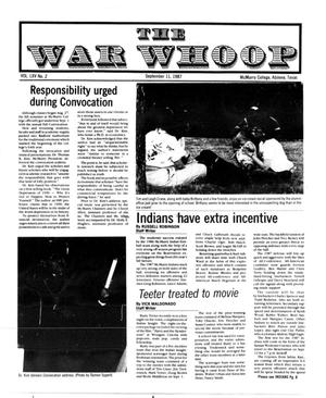 Primary view of object titled 'The War Whoop (Abilene, Tex.), Vol. 65, No. 2, Ed. 1, Friday, September 11, 1987'.