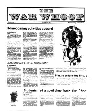 Primary view of object titled 'The War Whoop (Abilene, Tex.), Vol. 65, No. 5, Ed. 1, Friday, October 23, 1987'.