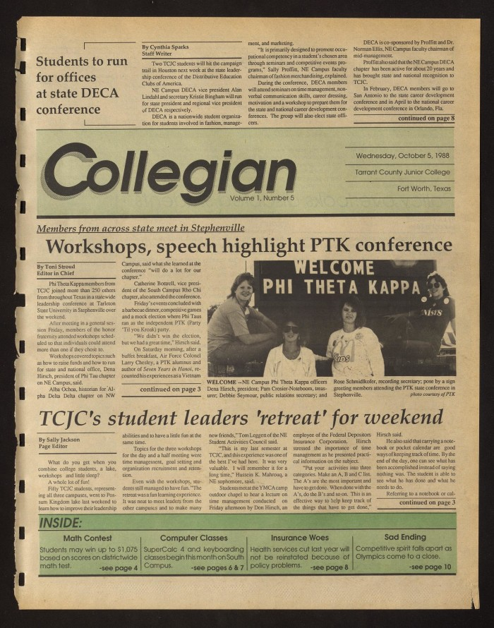 Collegian hurst tex vol 1 no 5 ed 1 wednesday october 5 primary view of object titled collegian hurst tex vol m4hsunfo