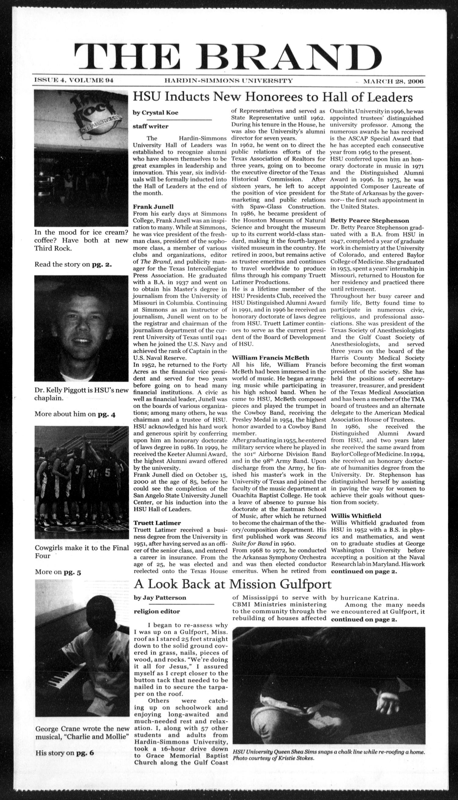 The Brand (Abilene, Tex.), Vol. 94, No. 4, Ed. 1, Tuesday, March 28, 2006                                                                                                      [Sequence #]: 1 of 6