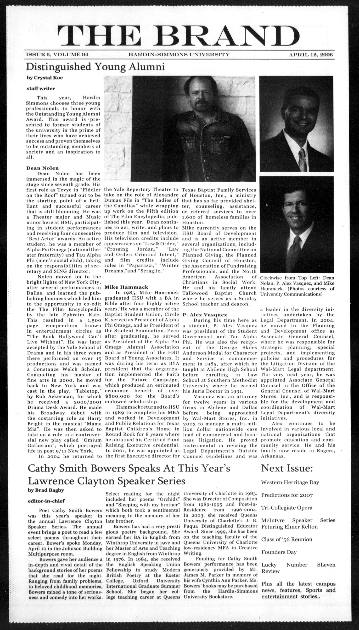 The Brand (Abilene, Tex.), Vol. 94, No. 6, Ed. 1, Wednesday, April 12, 2006                                                                                                      [Sequence #]: 1 of 4