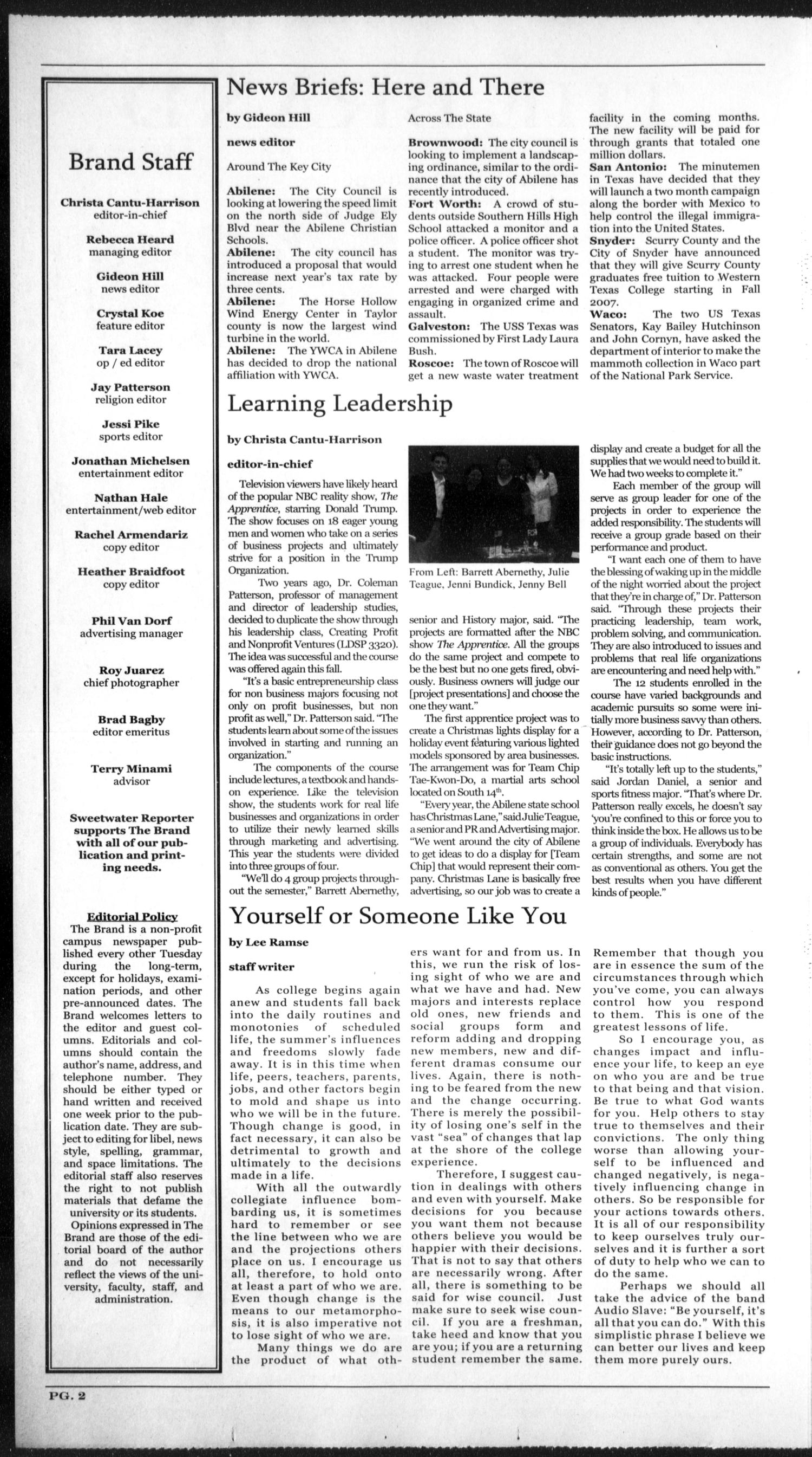 The Brand (Abilene, Tex.), Vol. 95, No. 2, Ed. 1, Wednesday, September 20, 2006                                                                                                      [Sequence #]: 2 of 4