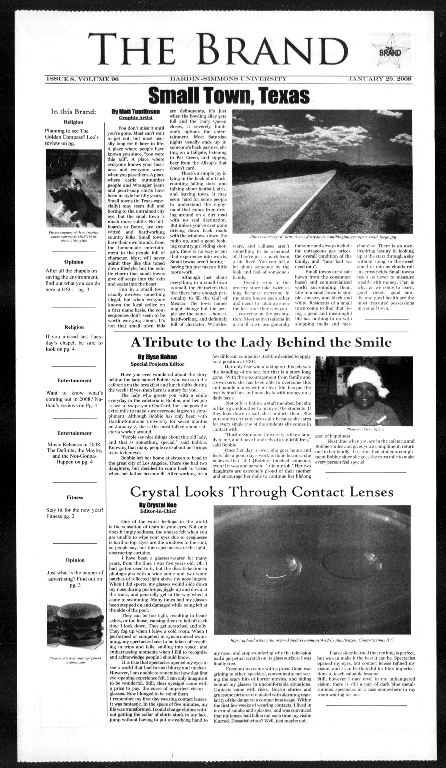 The Brand (Abilene, Tex.), Vol. 96, No. 8, Ed. 1, Sunday, January 20, 2008                                                                                                      [Sequence #]: 1 of 4