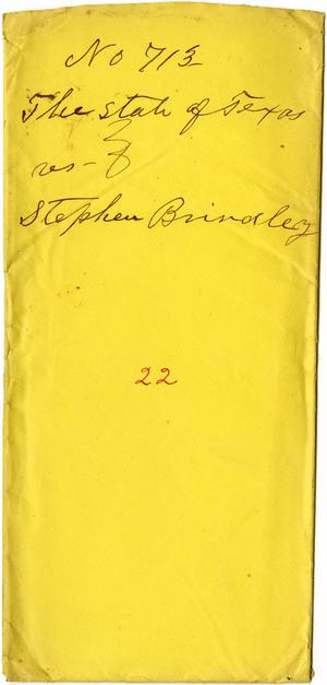 Documents related to the case of The State of Texas vs. Stephen Brindley, cause no. 713, 1873