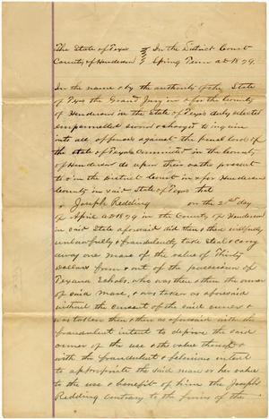 Primary view of object titled 'Documents related to the case of The State of Texas vs. Joseph Redding, cause no. 714 (1326), 1879'.