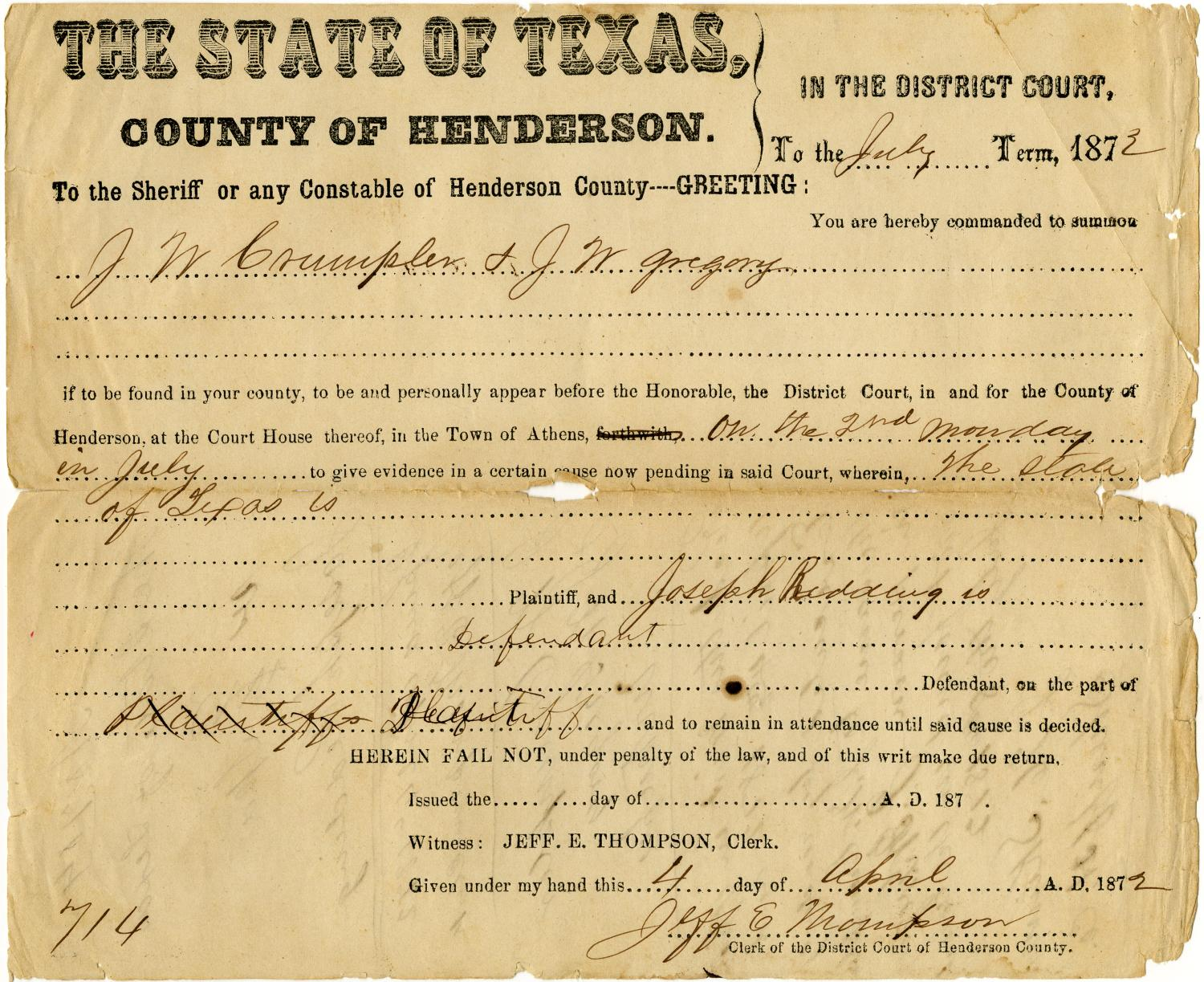 Documents related to the case of The State of Texas vs. Joseph Redding, cause no. 714 (1326), 1879                                                                                                      [Sequence #]: 3 of 10