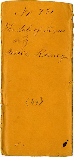 Primary view of object titled 'Documents related to the case of The State of Texas vs. Mollie Rainey, cause no. 731a, 1873'.
