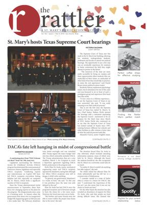 Primary view of object titled 'The Rattler (San Antonio, Tex.), Vol. 106, No. 6, Ed. 1 Wednesday, February 14, 2018'.