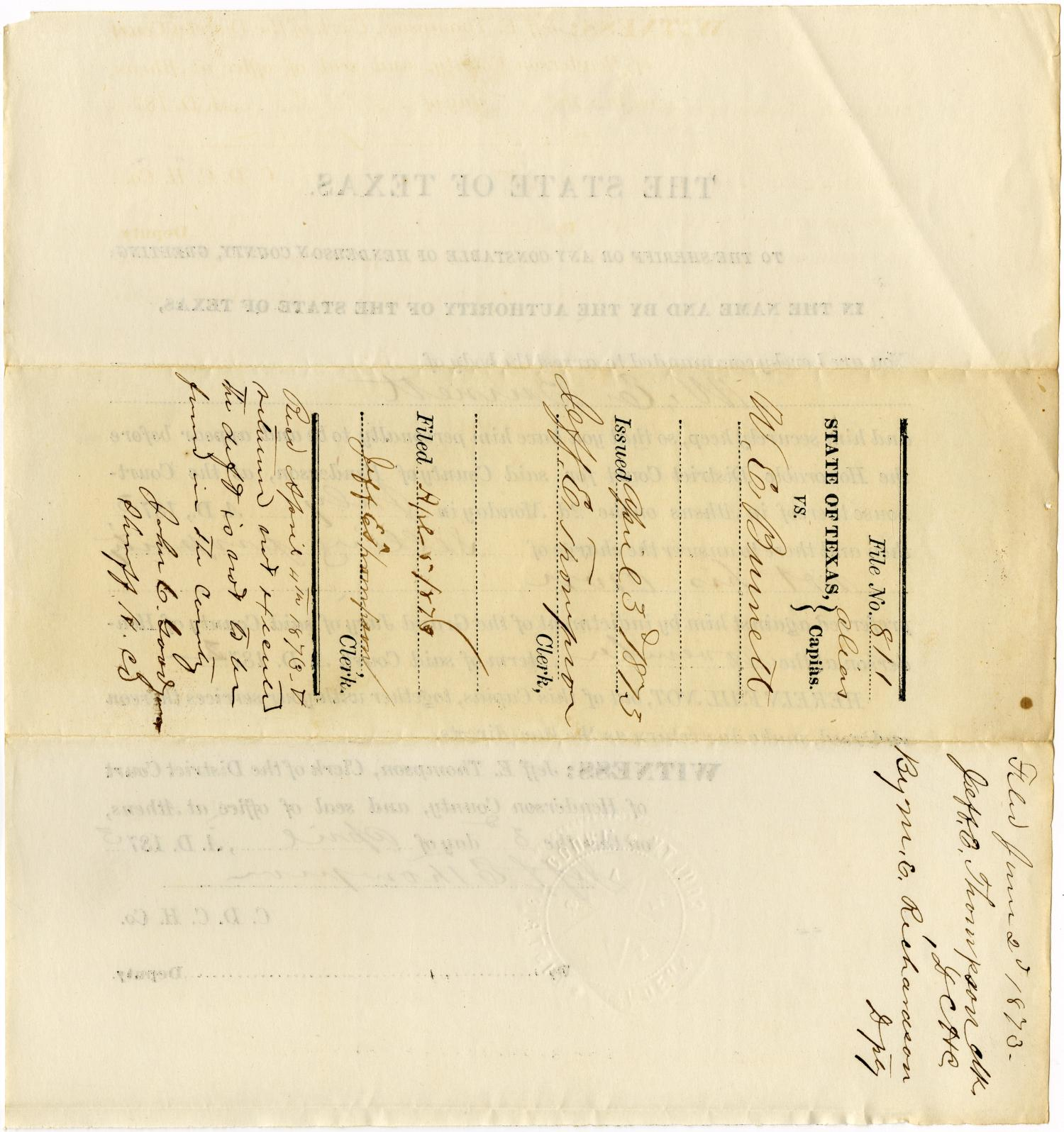 Documents related to the case of The State of Texas vs. William E. Burnett, cause no. 811, 1873                                                                                                      [Sequence #]: 4 of 30