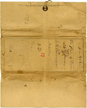 Primary view of object titled 'Documents related to the case of The State of Texas vs. Joseph G. Warriner, cause no. 812, 1873'.