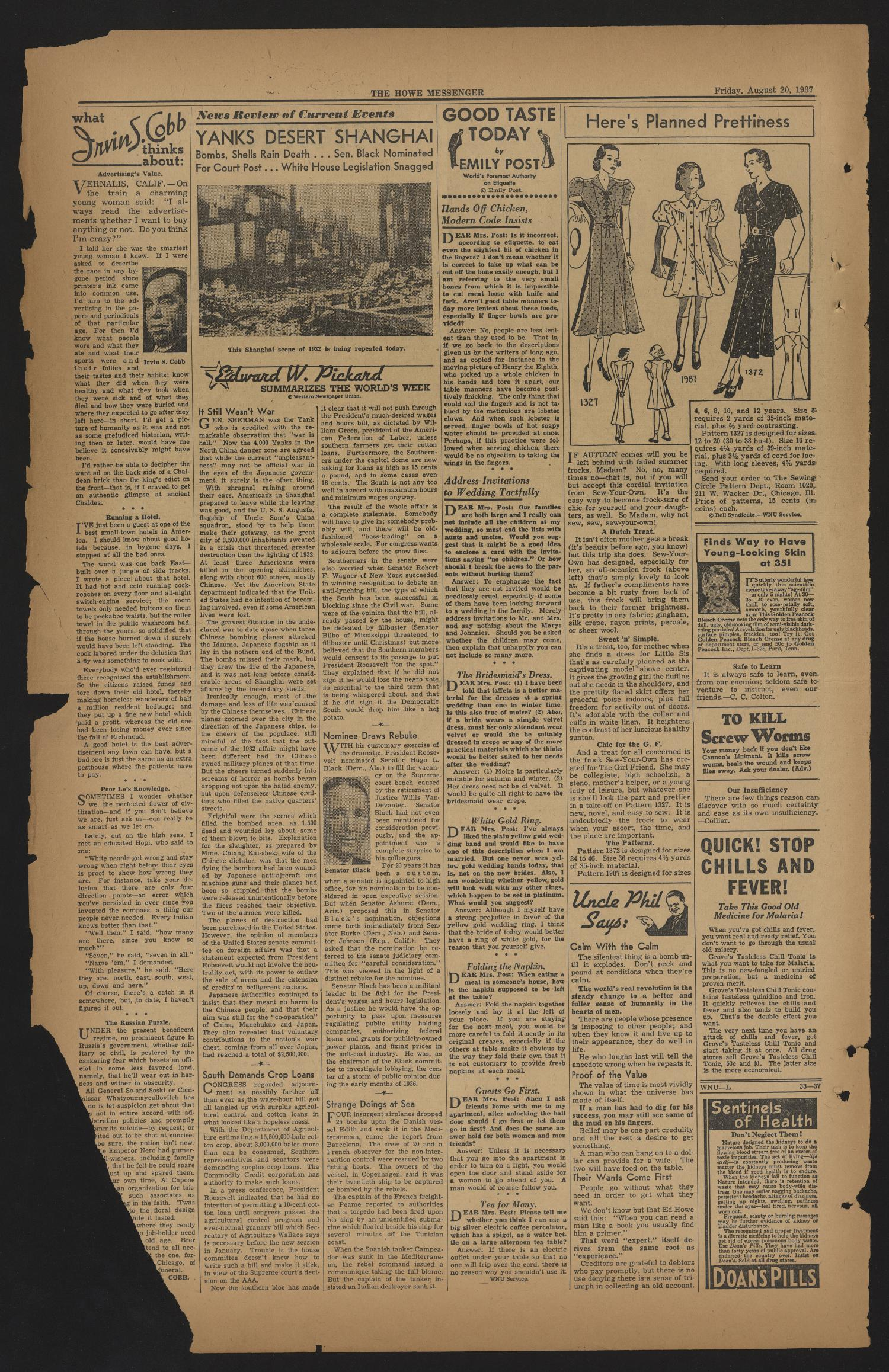 The Howe Messenger (Howe, Tex.), Vol. 14, No. 34, Ed. 1 Friday, August 20, 1937                                                                                                      [Sequence #]: 2 of 8