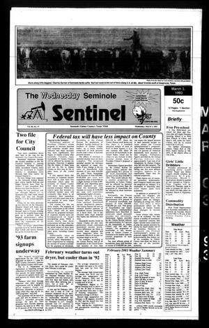 The Seminole Sentinel (Seminole, Tex.), Vol. 86, No. 37, Ed. 1 Wednesday, March 3, 1993