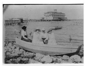 Primary view of object titled '[Women in Boat at Pavilion Hotel]'.