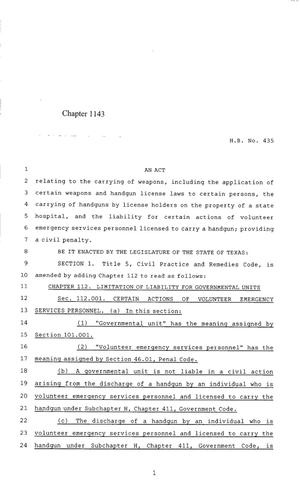 Primary view of 85th Texas Legislature, Regular Session, House Bill 435, Chapter 1143