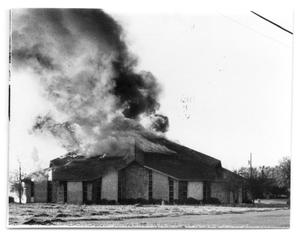 Primary view of object titled '[Episcopal Church on Fire]'.