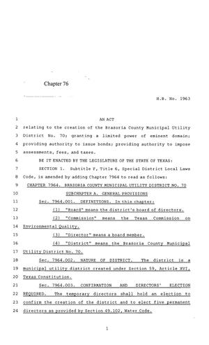 Primary view of object titled '85th Texas Legislature, Regular Session, House Bill 1963, Chapter 76'.