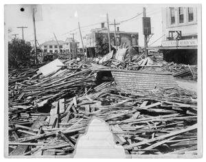 Primary view of object titled '[Storm Damage at Texas Motor Sales Company]'.