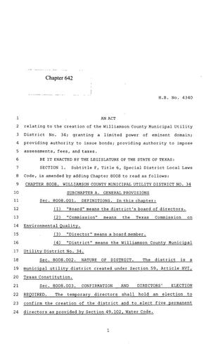 Primary view of object titled '85th Texas Legislature, Regular Session, House Bill 4340, Chapter 642'.