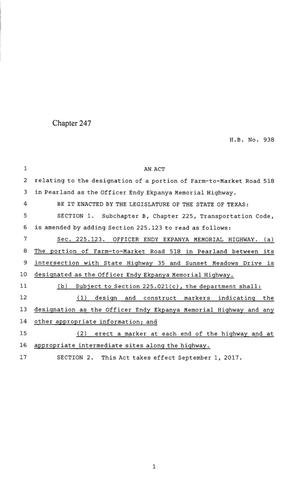 Primary view of 85th Texas Legislature, Regular Session, House Bill 938, Chapter 247