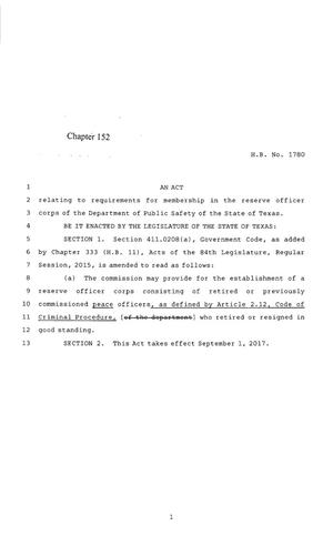 Primary view of object titled '85th Texas Legislature, Regular Session, House Bill 1780, Chapter 152'.
