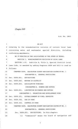 Primary view of object titled '85th Texas Legislature, Regular Session, House Bill 2803, Chapter 869'.