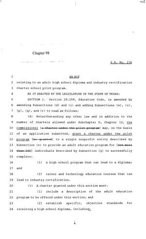 Primary view of 85th Texas Legislature, Regular Session, Senate Bill 276, Chapter 98