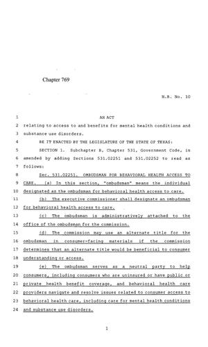 Primary view of object titled '85th Texas Legislature, Regular Session, House Bill 10, Chapter 769'.