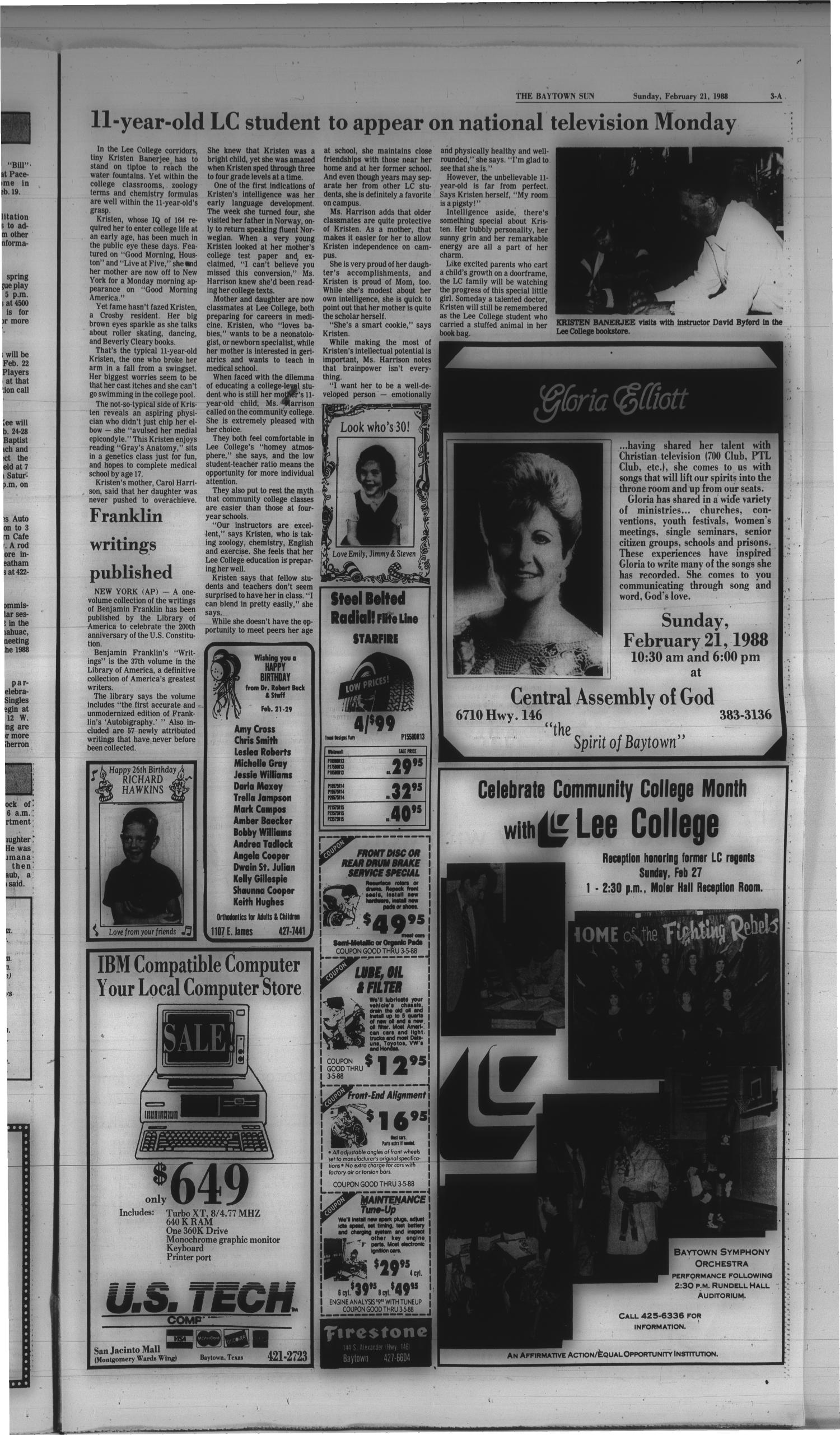 The Baytown Sun (Baytown, Tex.), Vol. 66, No. 96, Ed. 1 Sunday, February 21, 1988                                                                                                      [Sequence #]: 3 of 28
