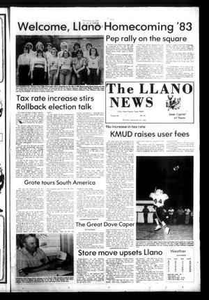 Primary view of object titled 'The Llano News (Llano, Tex.), Vol. 92, No. 46, Ed. 1 Thursday, September 15, 1983'.