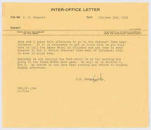 Primary view of object titled '[Letter from I. H. Kempner, Jr., to I. H. Kempner, October 3, 1952]'.