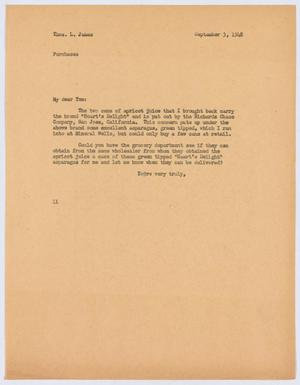 Primary view of object titled '[Letter from I. H. Kempner to Thos. L. James, September 3, 1948]'.
