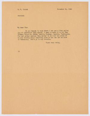 Primary view of object titled '[Letter from I. H. Kempner to G. D. Ulrich, November 20, 1944]'.