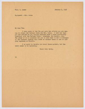 Primary view of object titled '[Letter from I. H. Kempern to T. L. James, January 6, 1948]'.