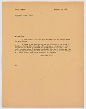 Primary view of object titled '[Letter from I. H. Kempner to T. L. James, January 31, 1948]'.