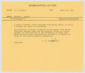 Primary view of object titled '[Letter from I. H. Kempner, Jr., to I. H. Kempner, March 19, 1951]'.