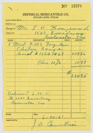 Primary view of [Receipt for Electric Range]