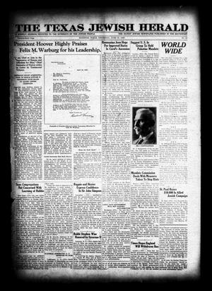 Primary view of object titled 'The Texas Jewish Herald (Houston, Tex.), Vol. 23, No. 10, Ed. 1 Thursday, June 19, 1930'.