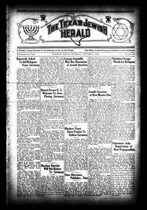 Primary view of object titled 'The Texas Jewish Herald (Houston, Tex.), Vol. 27, No. 26, Ed. 1 Thursday, October 5, 1933'.
