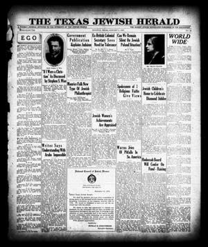 Primary view of object titled 'The Texas Jewish Herald (Houston, Tex.), Vol. 22, No. 38, Ed. 1 Thursday, January 2, 1930'.