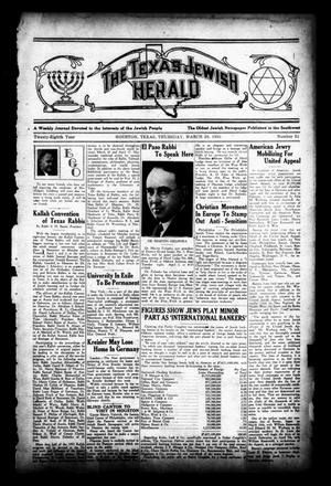 Primary view of object titled 'The Texas Jewish Herald (Houston, Tex.), Vol. 28, No. 51, Ed. 1 Thursday, March 28, 1935'.
