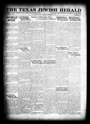 Primary view of object titled 'The Texas Jewish Herald (Houston, Tex.), Vol. 23, No. 37, Ed. 1 Thursday, December 25, 1930'.