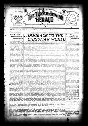 Primary view of object titled 'The Texas Jewish Herald (Houston, Tex.), Vol. 27, No. 20, Ed. 1 Thursday, August 24, 1933'.