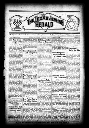 Primary view of object titled 'The Texas Jewish Herald (Houston, Tex.), Vol. 28, No. 33, Ed. 1 Thursday, November 22, 1934'.
