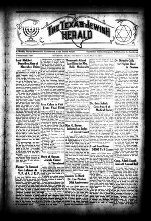 Primary view of object titled 'The Texas Jewish Herald (Houston, Tex.), Vol. 26, No. 40, Ed. 1 Thursday, January 12, 1933'.