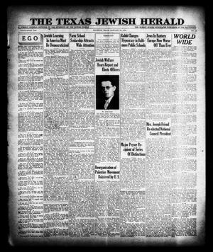 Primary view of object titled 'The Texas Jewish Herald (Houston, Tex.), Vol. 22, No. 42, Ed. 1 Thursday, January 30, 1930'.