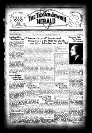 Primary view of object titled 'The Texas Jewish Herald (Houston, Tex.), Vol. 27, No. 11, Ed. 1 Thursday, June 22, 1933'.