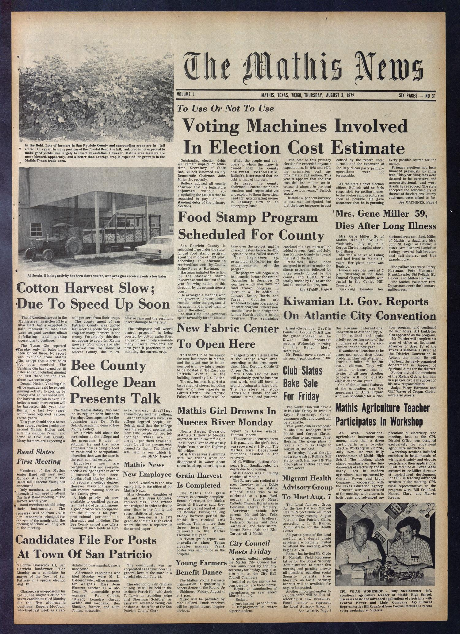 The Mathis News (Mathis, Tex ), Vol  50, No  31, Ed  1