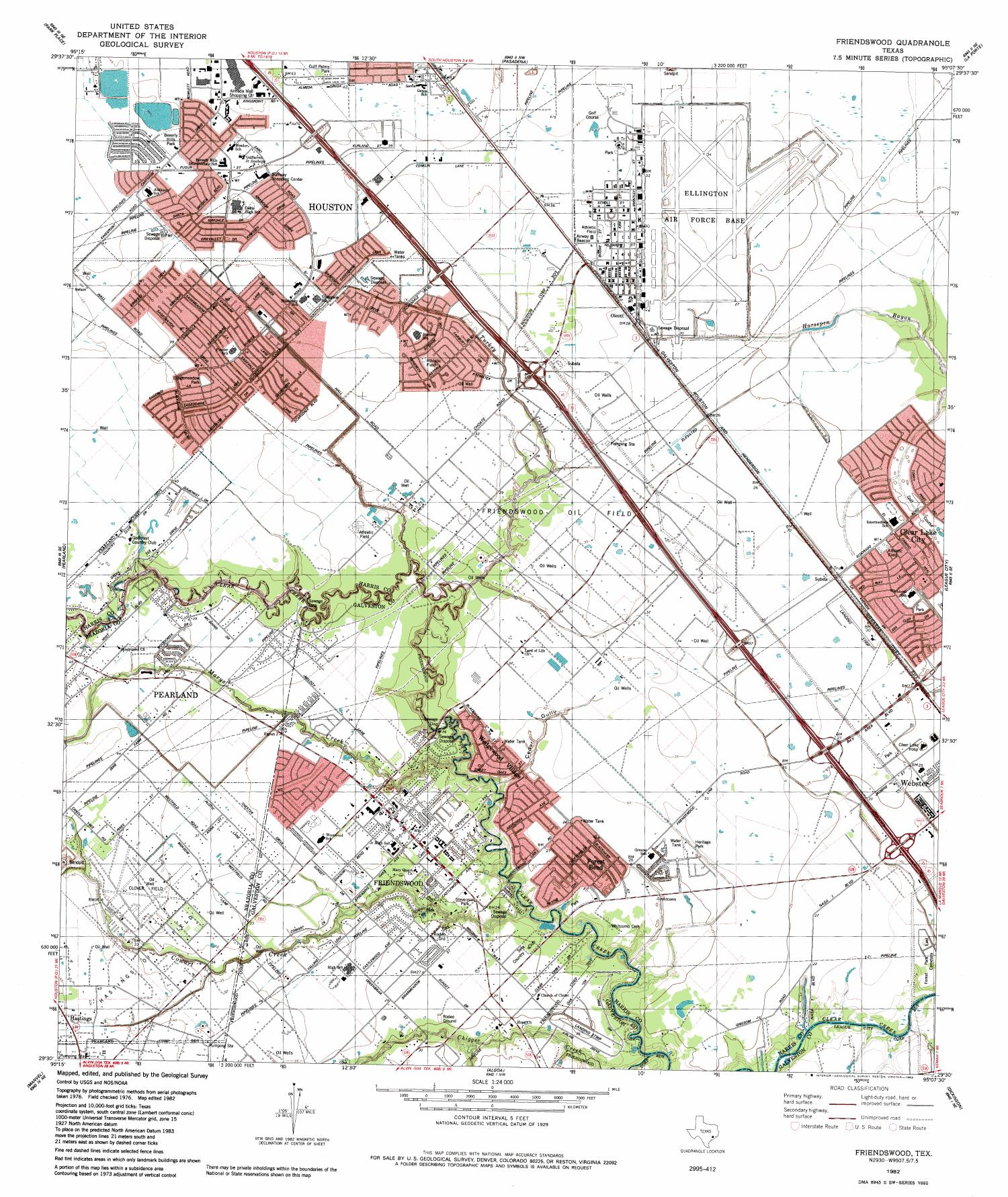 Friendswood Quadrangle, Topographic map of a portion of Texas from the United States Geological Survey (USGS) project. The map includes towns, historic or notable sites, bodies of water, and other geologic features. Scale 1:24,000,