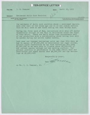 Primary view of object titled '[Letter from George Andre to I. H. Kempner, April 10, 1953]'.