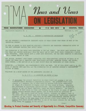 Primary view of object titled 'Texas Manufacturers Association Legislative Bulletin No. 3: Febrauary 9, 1953'.